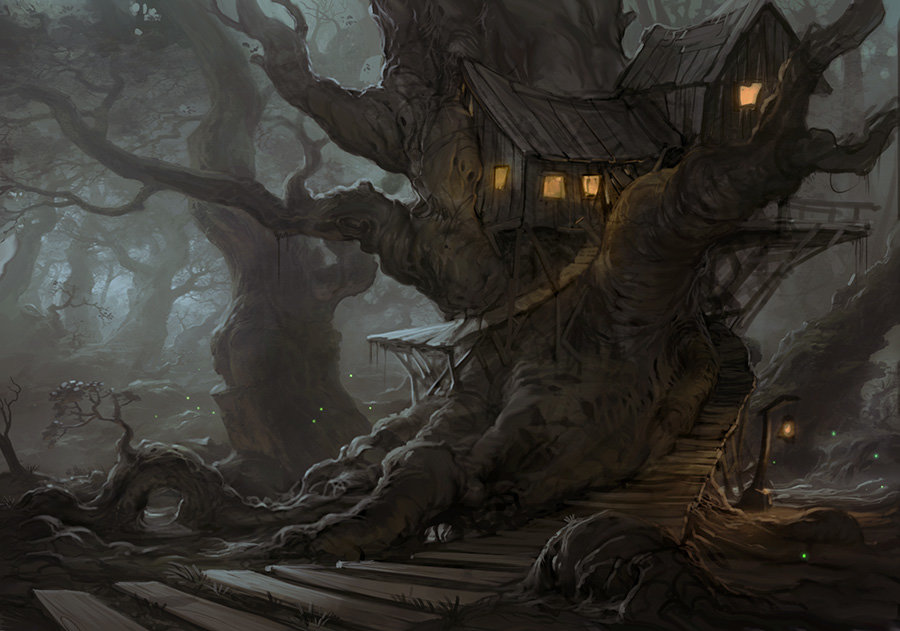 Treehouse in the spoooook y forest