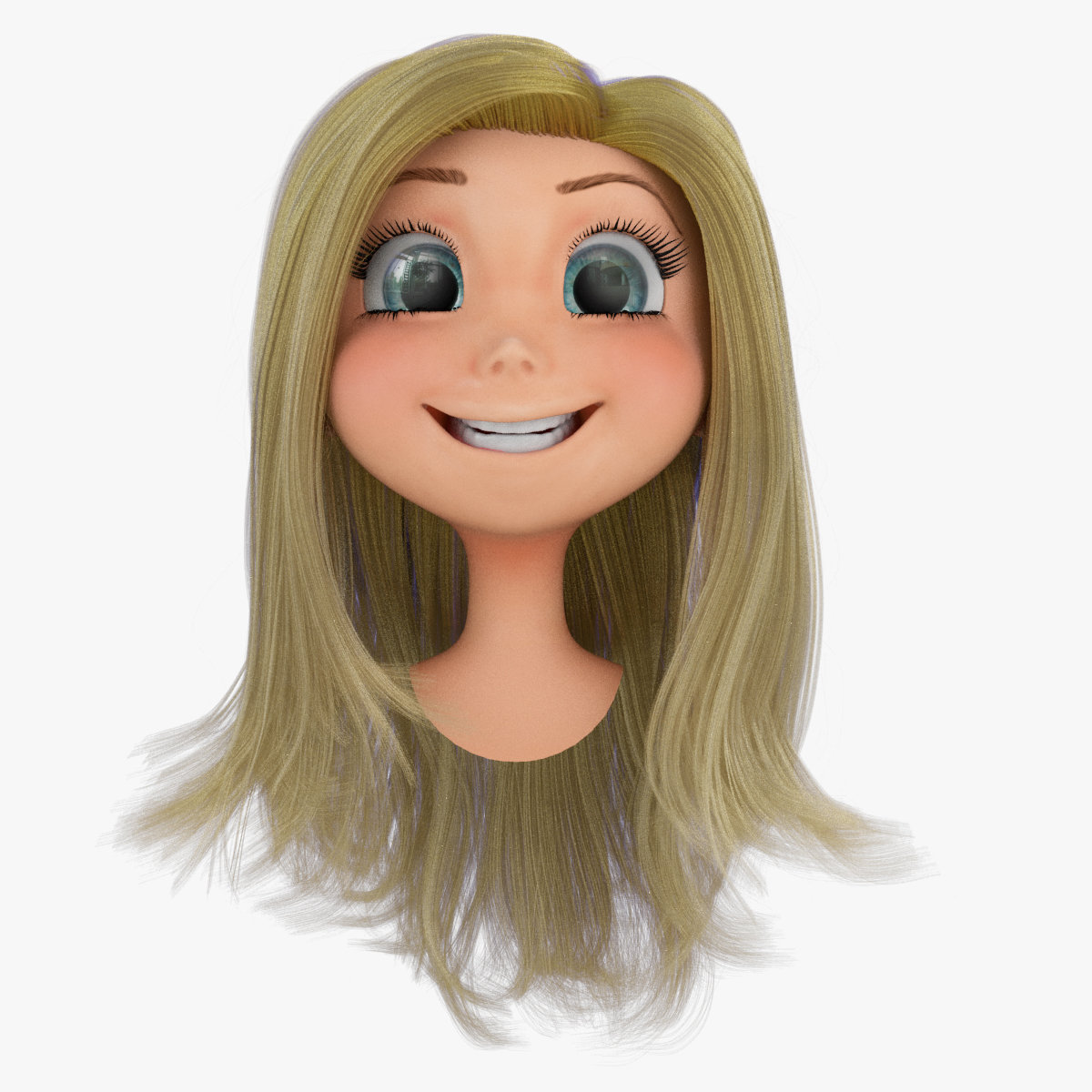 Kotey Annan Rigged Cartoon Girl Head A With Hair System And