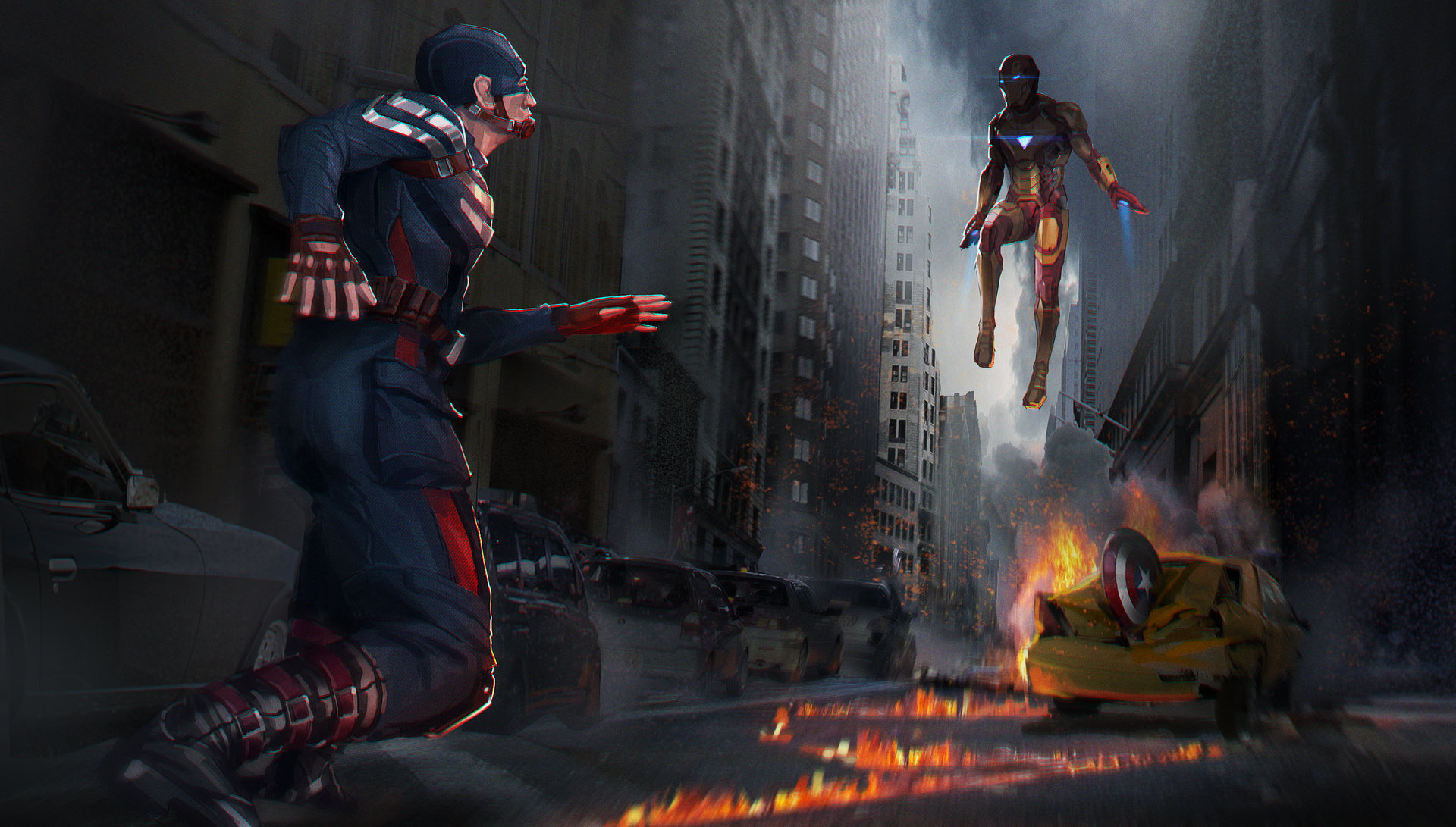 artstation - captain america vs iron man fan art, bo li