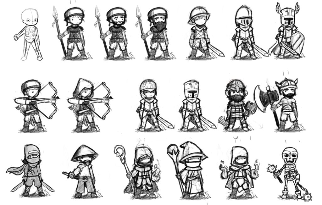 Game Design Character Classes : Artstation rpg character classes sketches dylan meville