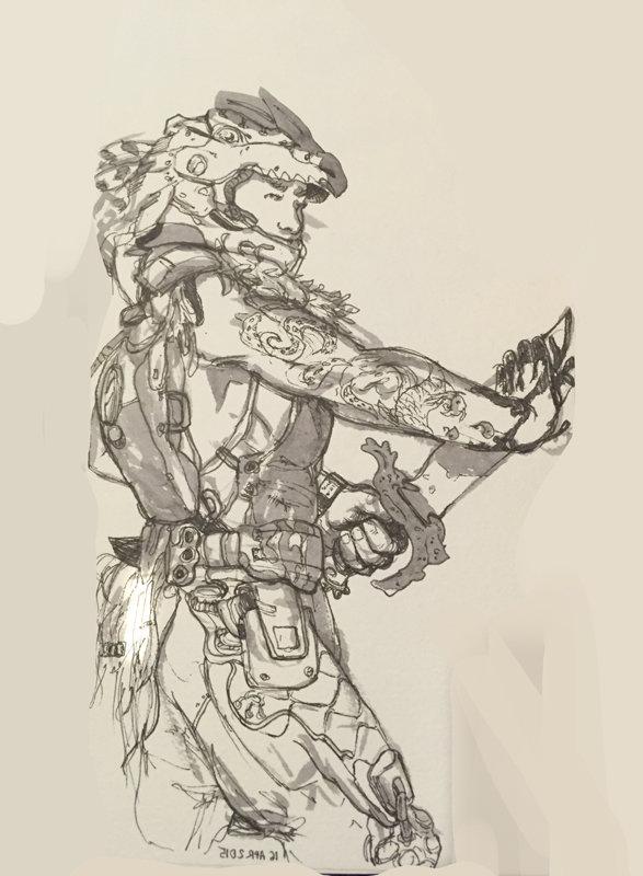 Ink wash sketch.