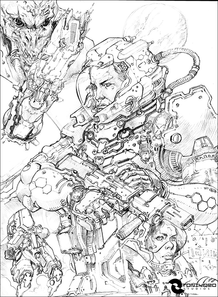 Black and White scanned sketch - before painting.