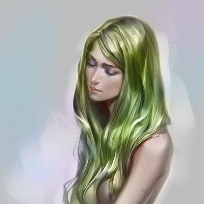 Tatiana kirgetova green hair brushtest2