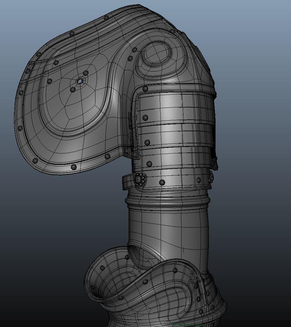 Modeling the shoulder piece/  wireframe