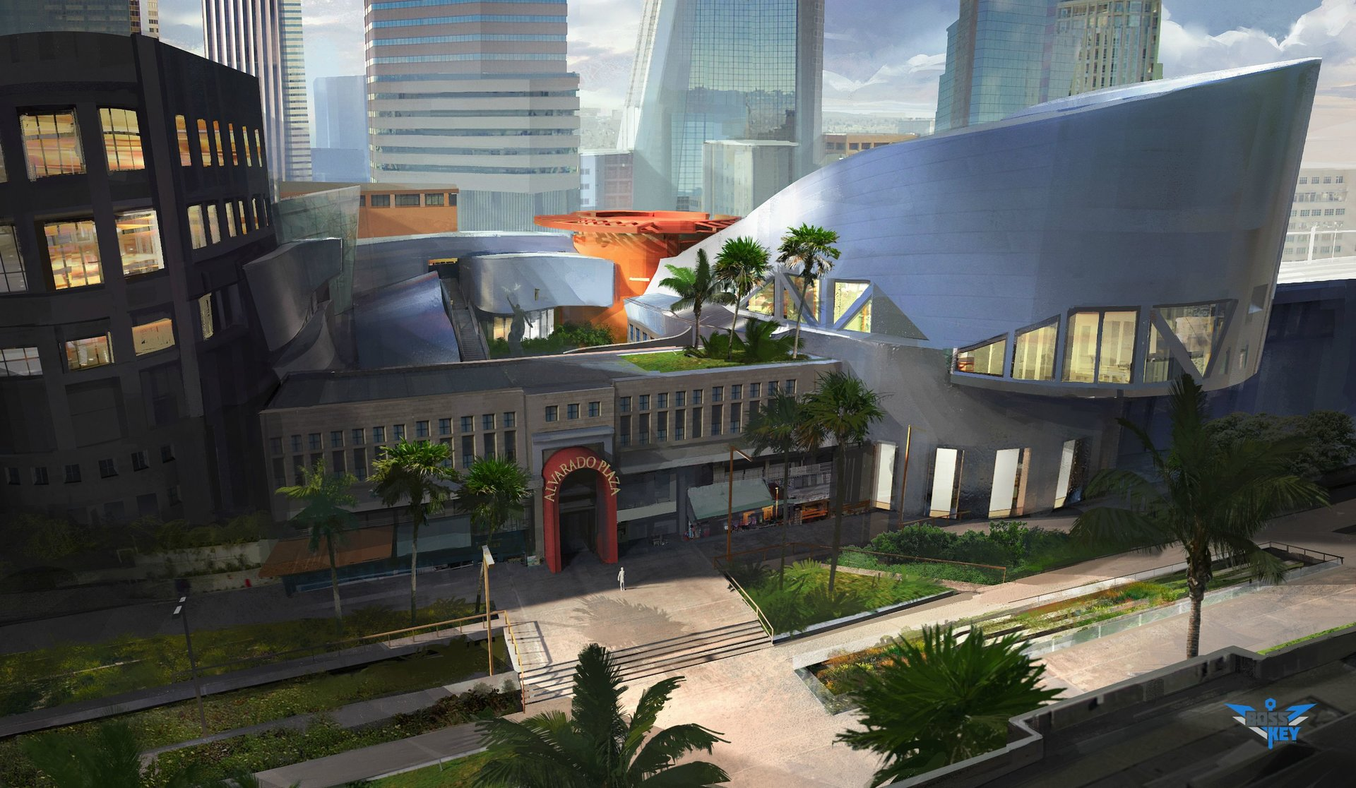 Boss key productions concept art depository alvarado plaza environment concept 1 establishing shot imgur