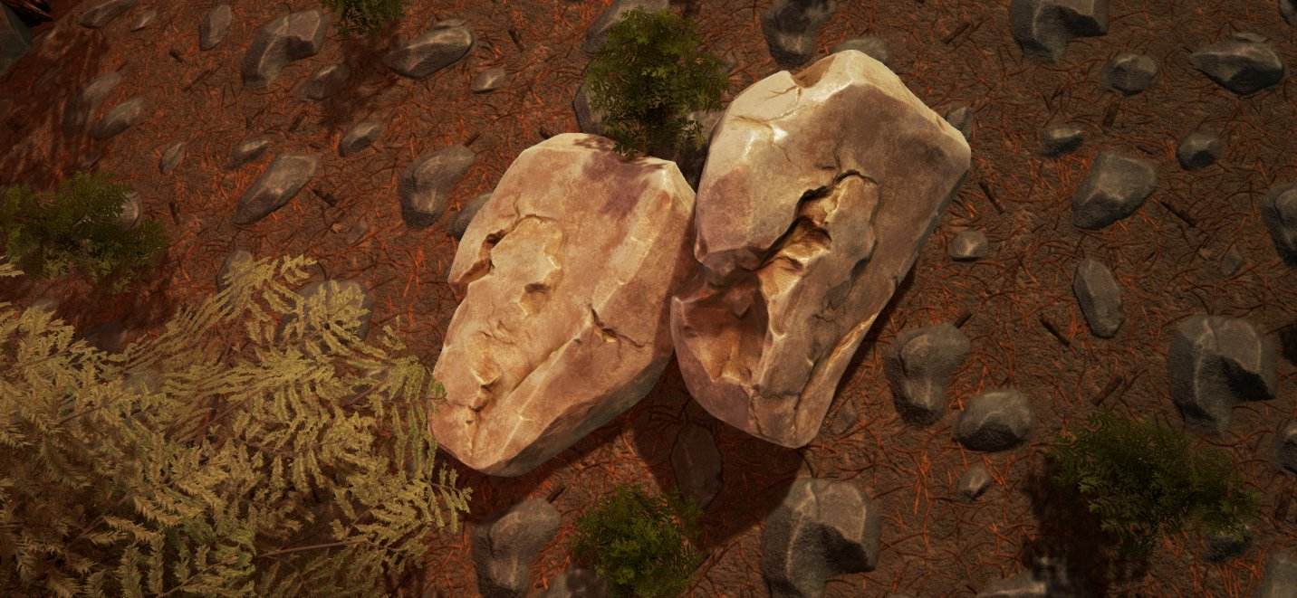 Modelling of rock and trees