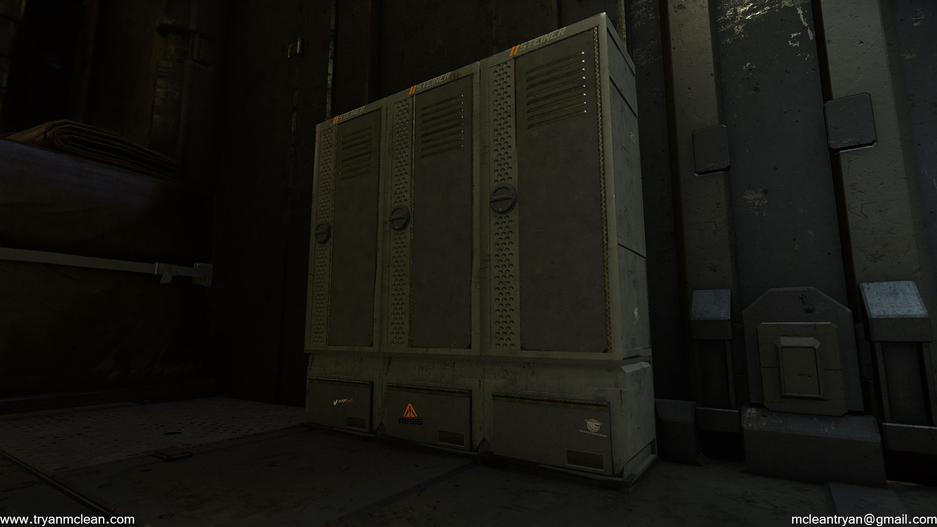 Star Citizen Subscriber Flair Locker. Modelling by myself. Textures and blending done by others on team.