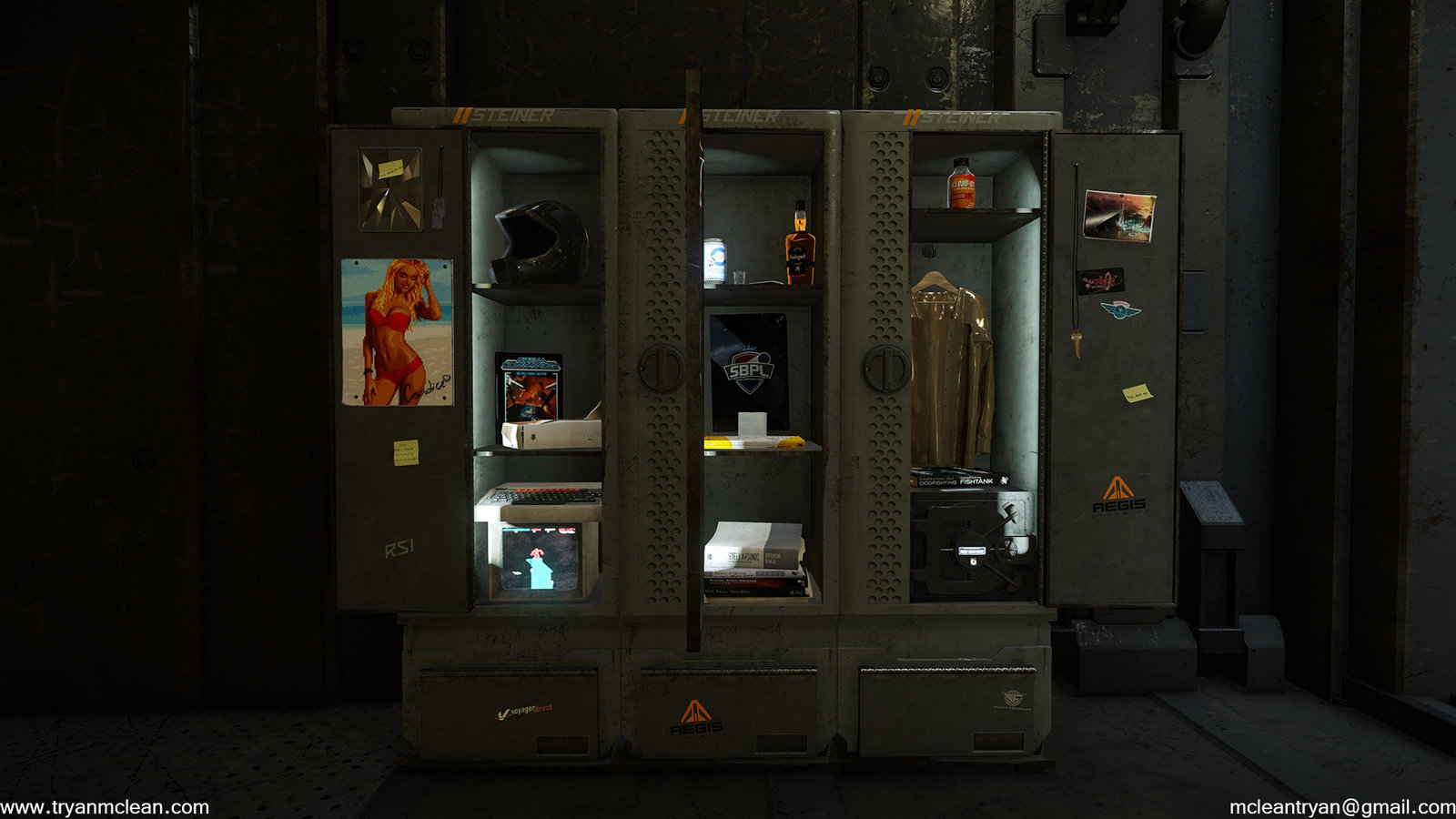 Star Citizen Subscriber Flair Locker. Modelling by myself, except gold shirt and safe. Textures and blending done by others on team.