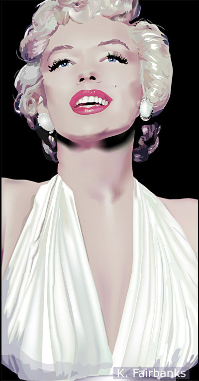Marilyn Monroe vector drawing. Marilyn as The Girl from the film The Seven Year Itch