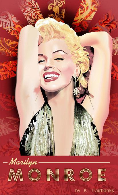 Vector drawing of Marilyn Monroe as Lorelei Lee from Gentlemen Prefer Blondes