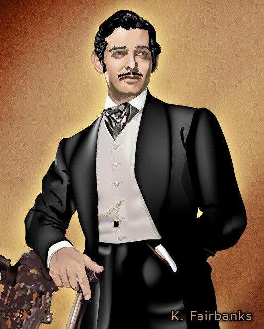 Vector drawing of actor Clark Gable as Rhett Butler by K. Fairbanks.