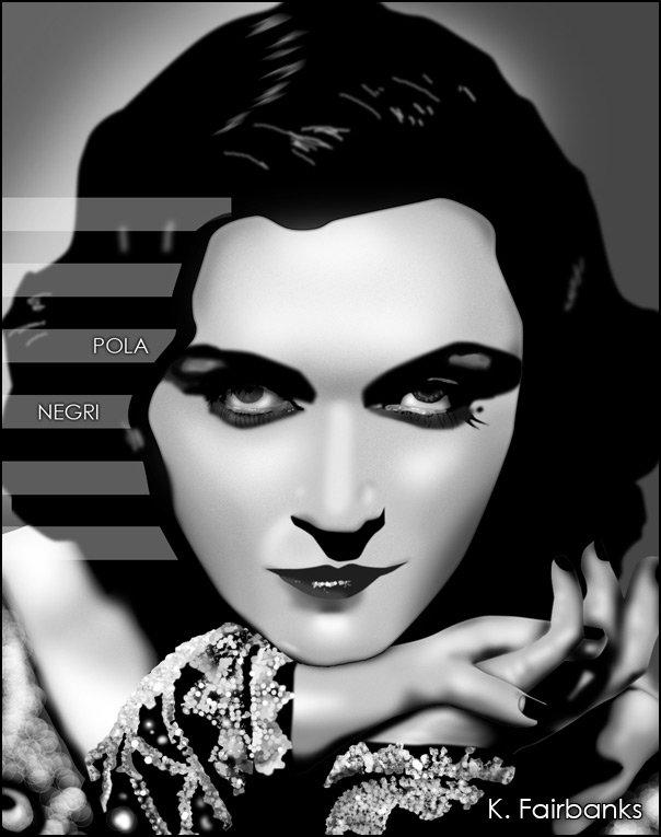 Digital painting of movie actress Pola Negri