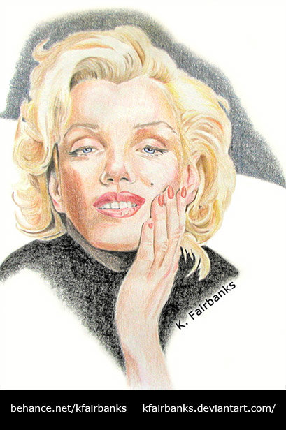 """Marilyn Monroe pencil drawing by K. Fairbanks. This drawing appeared in the book """"Marilyn Monroe: An Icon in Modern Art"""" by M. Suzanne Macon."""