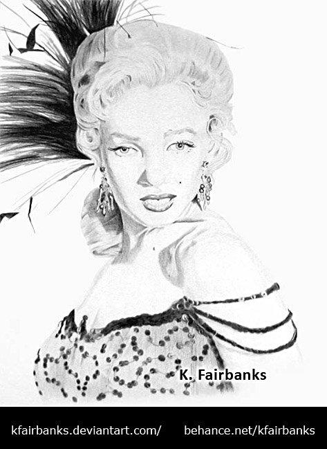Marilyn Monroe drawing. Media: pencil.