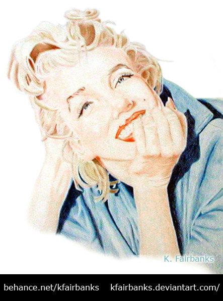 Marilyn Monroe drawing by K. Fairbanks. Media: color pencil