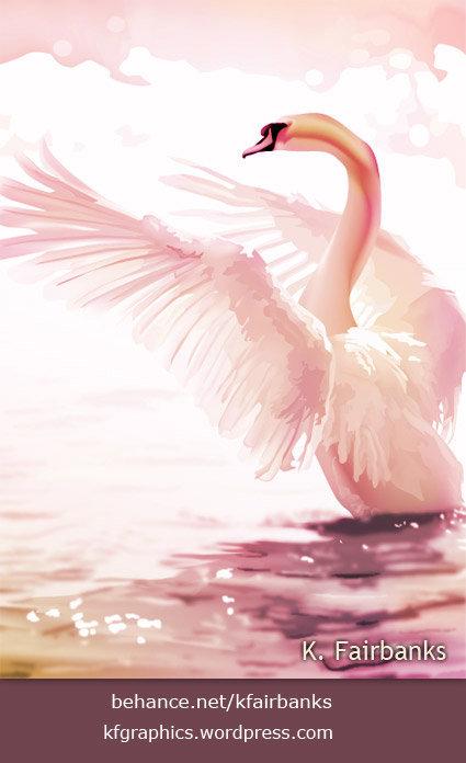 Swan Digital Art by K. Fairbanks