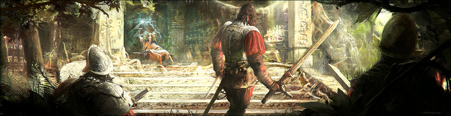 Sebastien ecosse corrected artstation aztecs conquistadors sebastien ecosse cortes sacrifice mexico priest magic sword concept art atmosphere painted digital environment