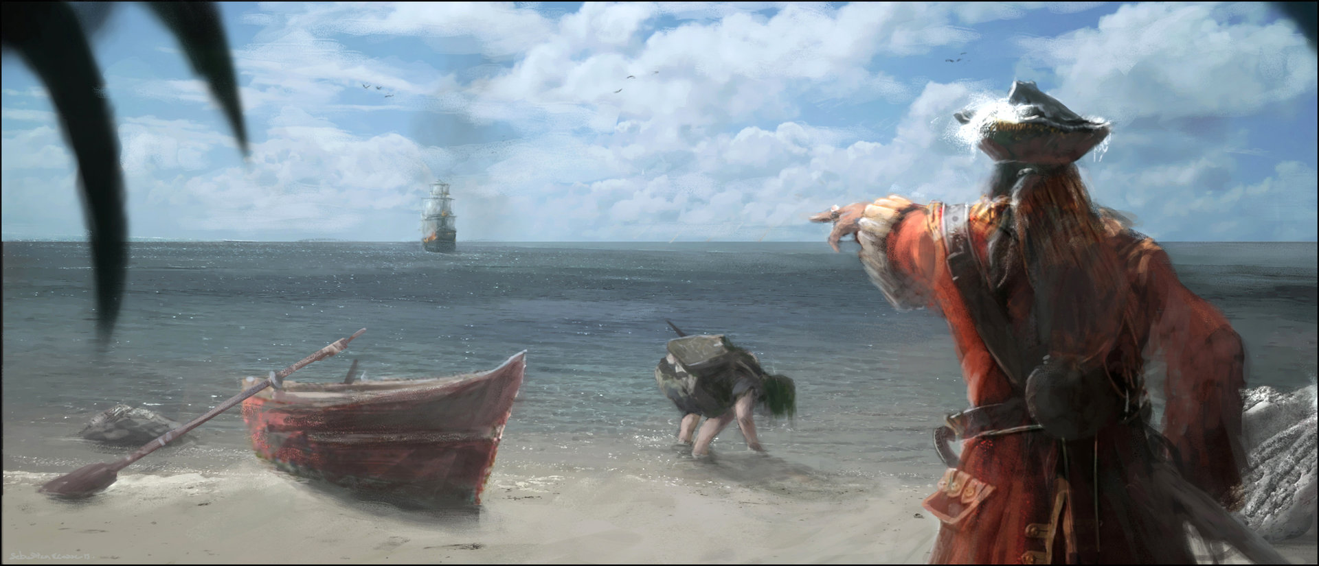 Sebastien ecosse corrected pirate tresor galion navire bateau ship caraibes matte painting illustration sebastien ecosse concept site 4