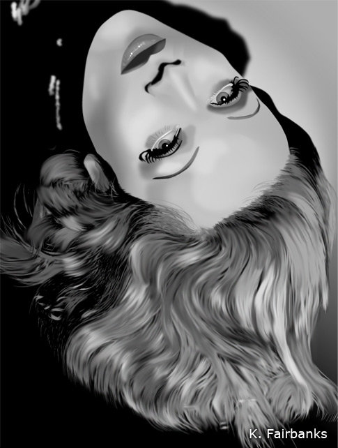 Vector drawing of Marlene Dietrich by K. Fairbanks