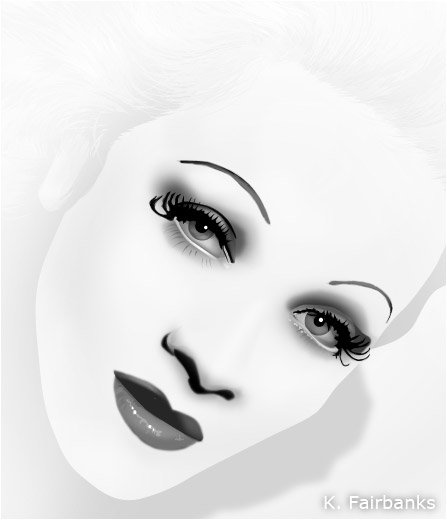 Marlene Dietrich vector drawing (modified in Photoshop) by K. Fairbanks