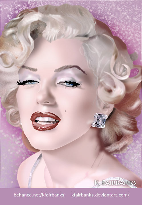 "Marilyn Monroe digital painting by K. Fairbanks. Media: Photoshop. This artwork appeared in the book ""Marilyn Monroe: An Icon in Modern Art,"" by M. Suzanne Macon"