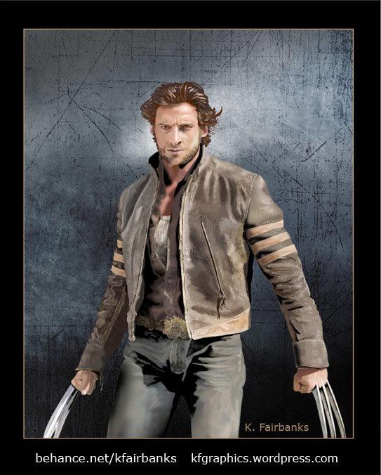 Hugh Jackman as Logan (Wolverine); digital portrait by K. Fairbanks