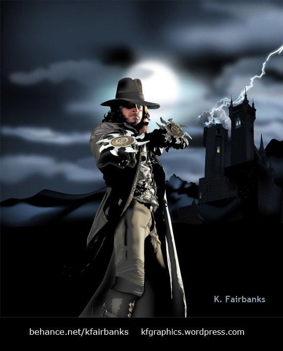 Hugh Jackman as Van Helsing (vector drawing) by K. Fairbanks