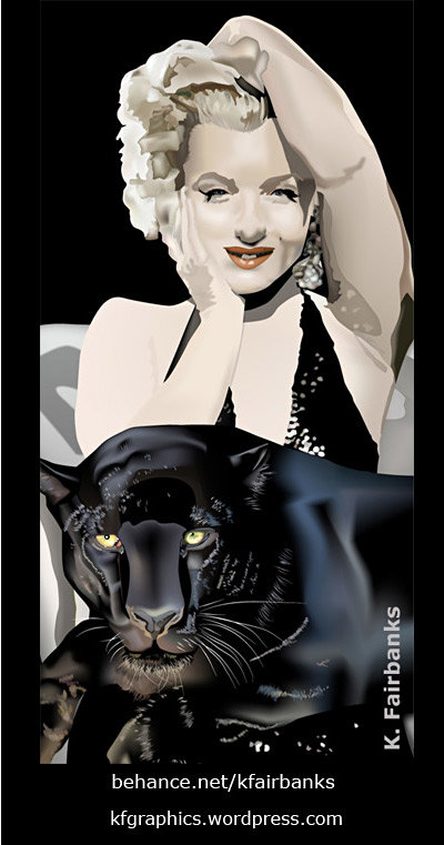 Vector drawing of Marilyn Monroe with Panther, by K. Fairbanks