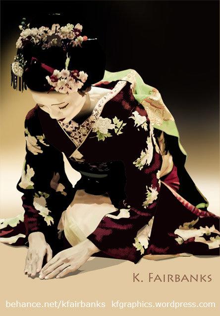 Geisha digital painting by K. Fairbanks
