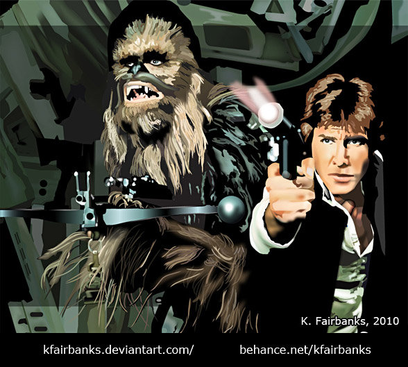 Chewbacca and Han Solo. Vector drawing by K. Fairbanks