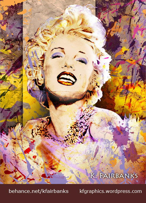 Pencil drawing of Marilyn Monroe by K. Fairbanks - modified in Photoshop