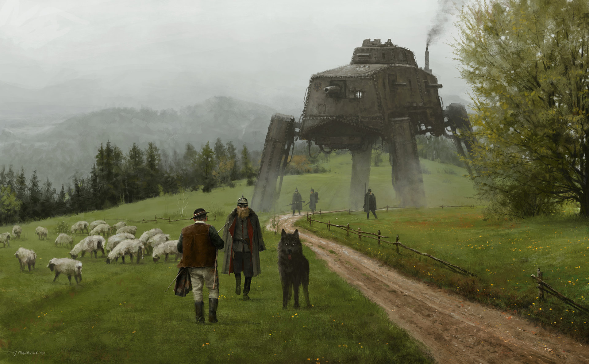 Jakub rozalski 1920 like a wolf among sheep