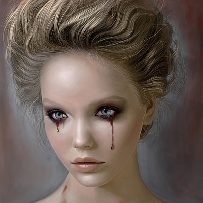 Masoume rezaei 1100x1400 15403 disillusion glance 2d fantasy girl woman portrait blood tears picture image digital art