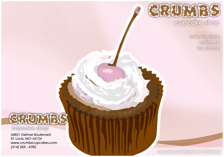 Menu cover: designed and created by K. Fairbanks. Media: InDesign (for page layout) and Illustrator (for drawing of cup cake)