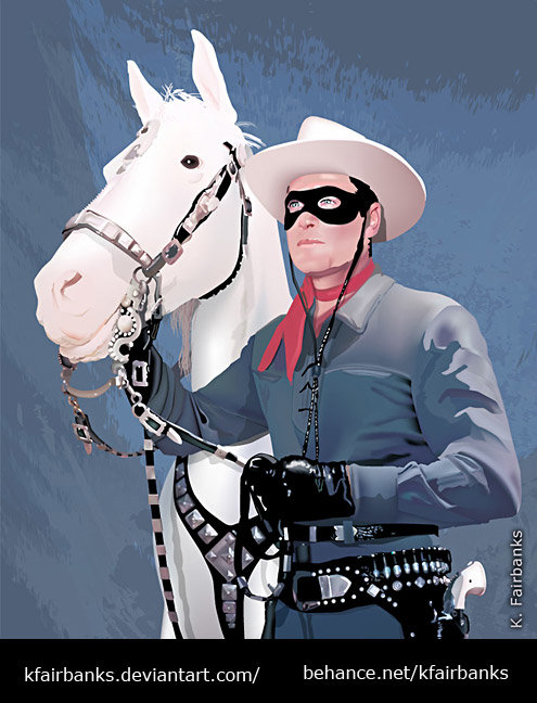 Lone Ranger and Silver (vector drawing) by K. Fairbanks