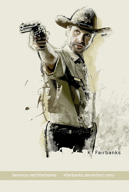 Andrew Lincoln as Rick Grimes. Digital painting by K. Fairbanks