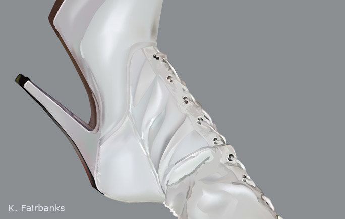 Boots (vector drawing) by K. Fairbanks (close up of drawing)