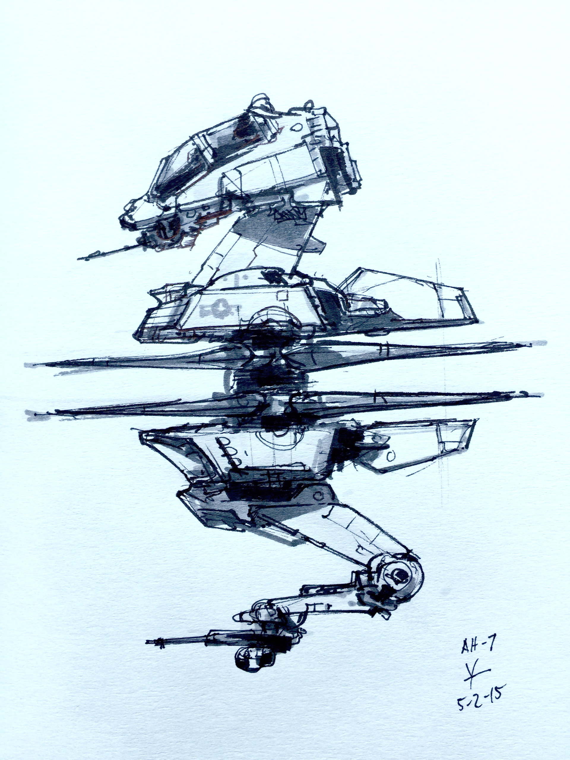 ArtStation - Attack helicopter sketch, donald yatomi