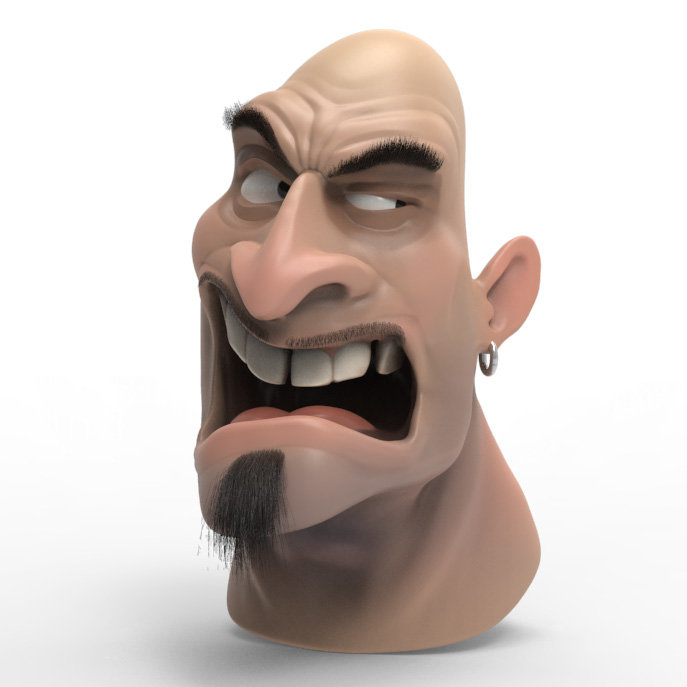 Angry Guy sculpted in Zbrush