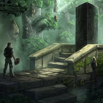 Travis lacey the obelisk jungle ruins concept art travis lacey