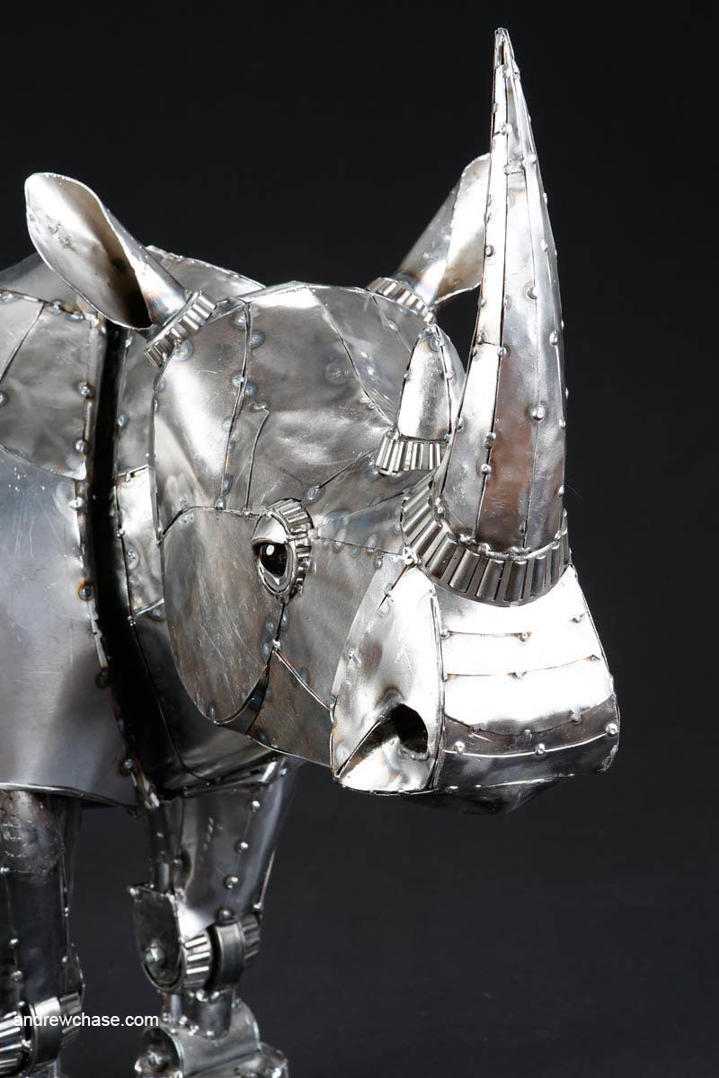 Andrew chase mechanical recycled metal articulated rhino closeup