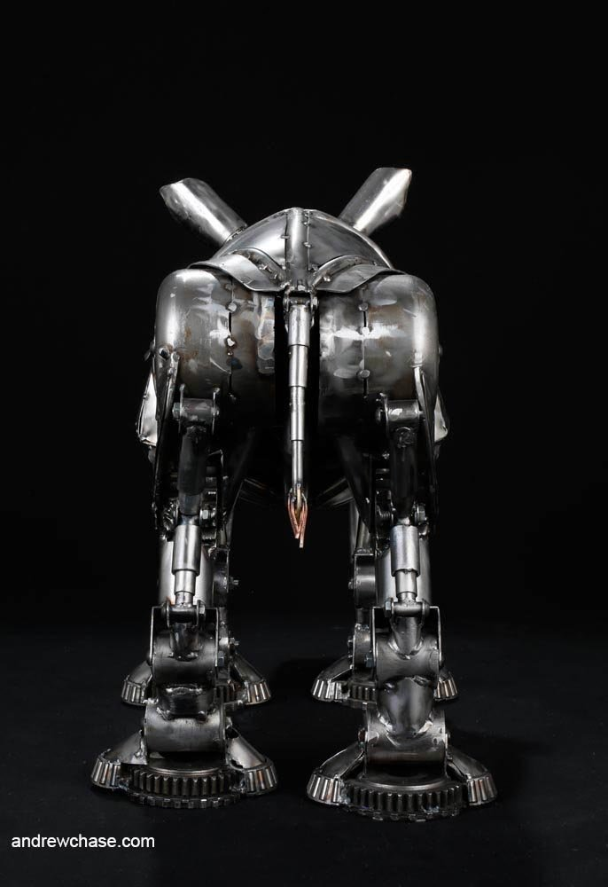 Andrew chase baby rhino metal sculpture rear