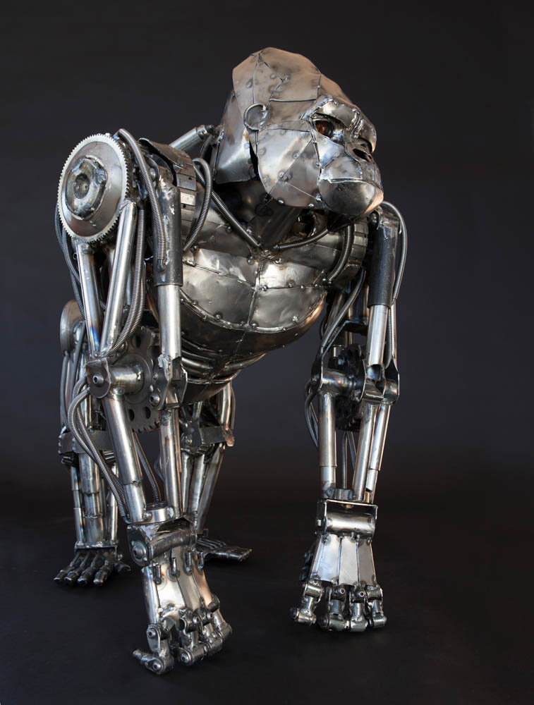 Andrew chase mechanical metal gorilla standing mad