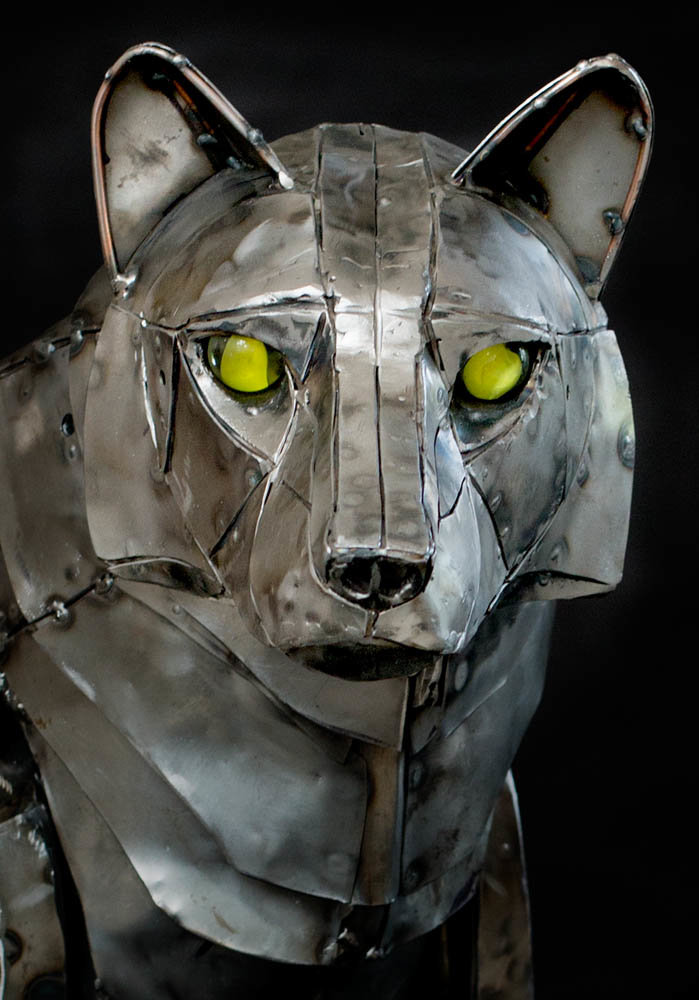 Andrew chase mechanical metal wolf head 4