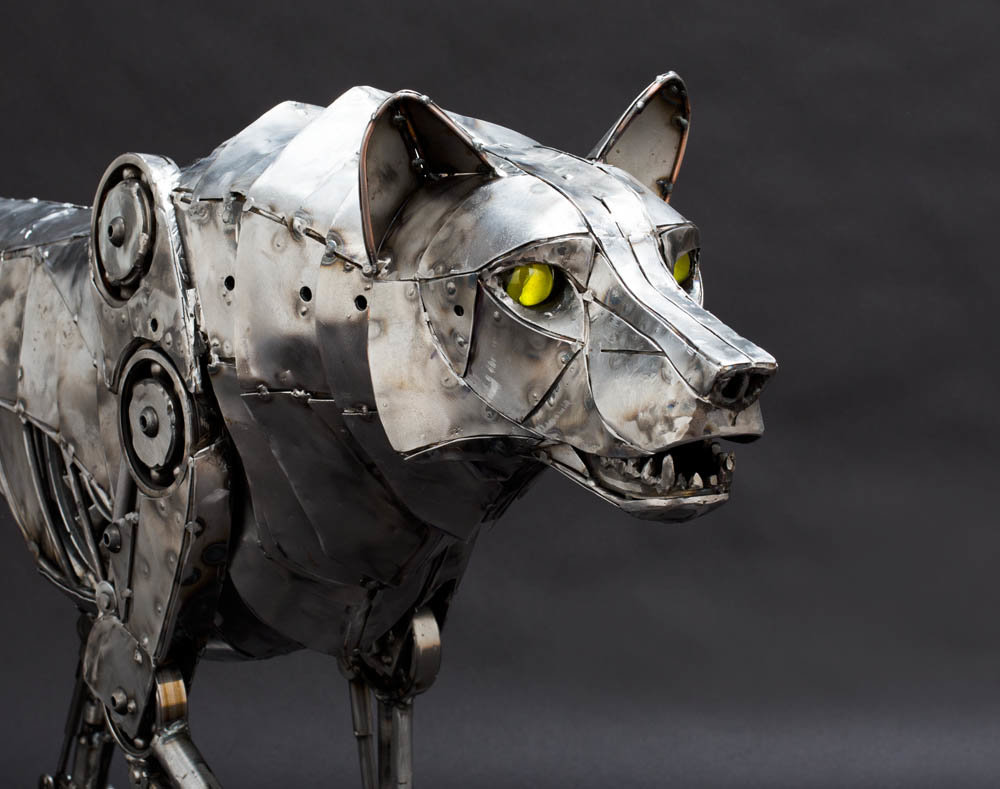 Andrew chase mechanical metal wolf growling