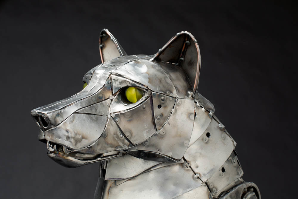 Andrew chase mechanical metal wolf head 2