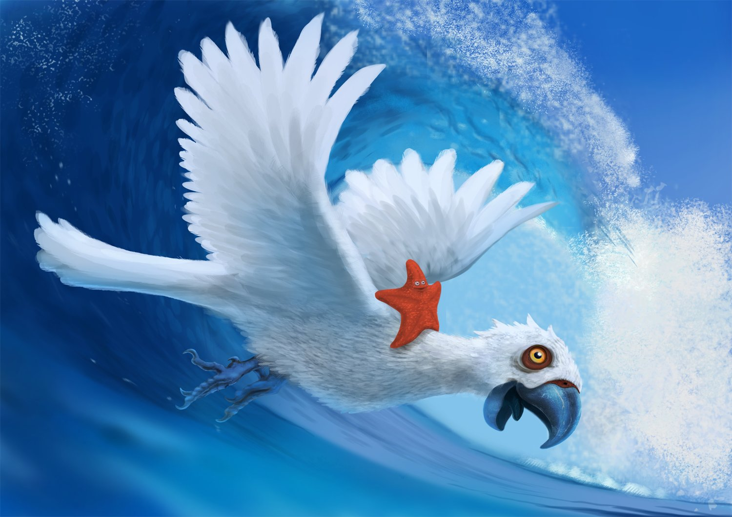 Parrot Surfin' with sea star
