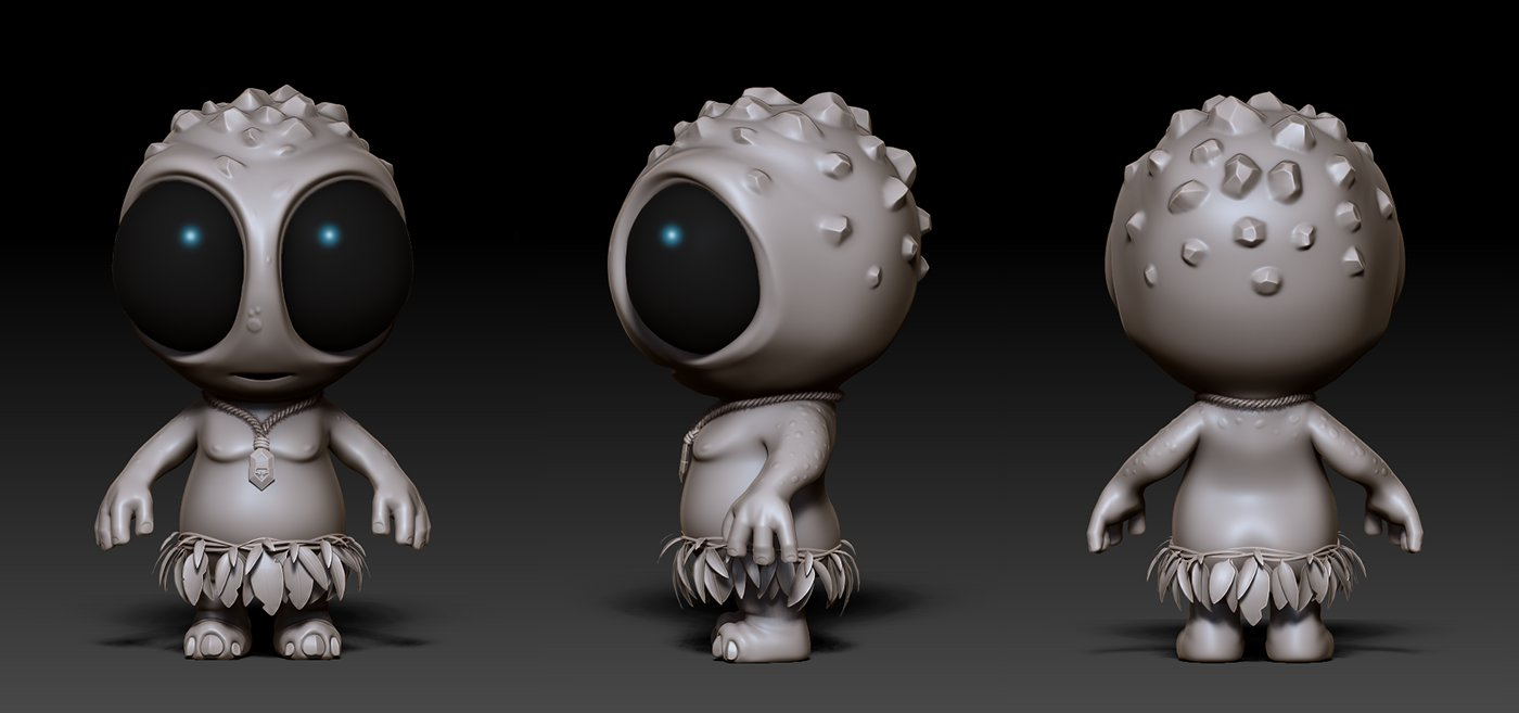 Sculpting the Chibeastie. Orthographic views from ZBrush.