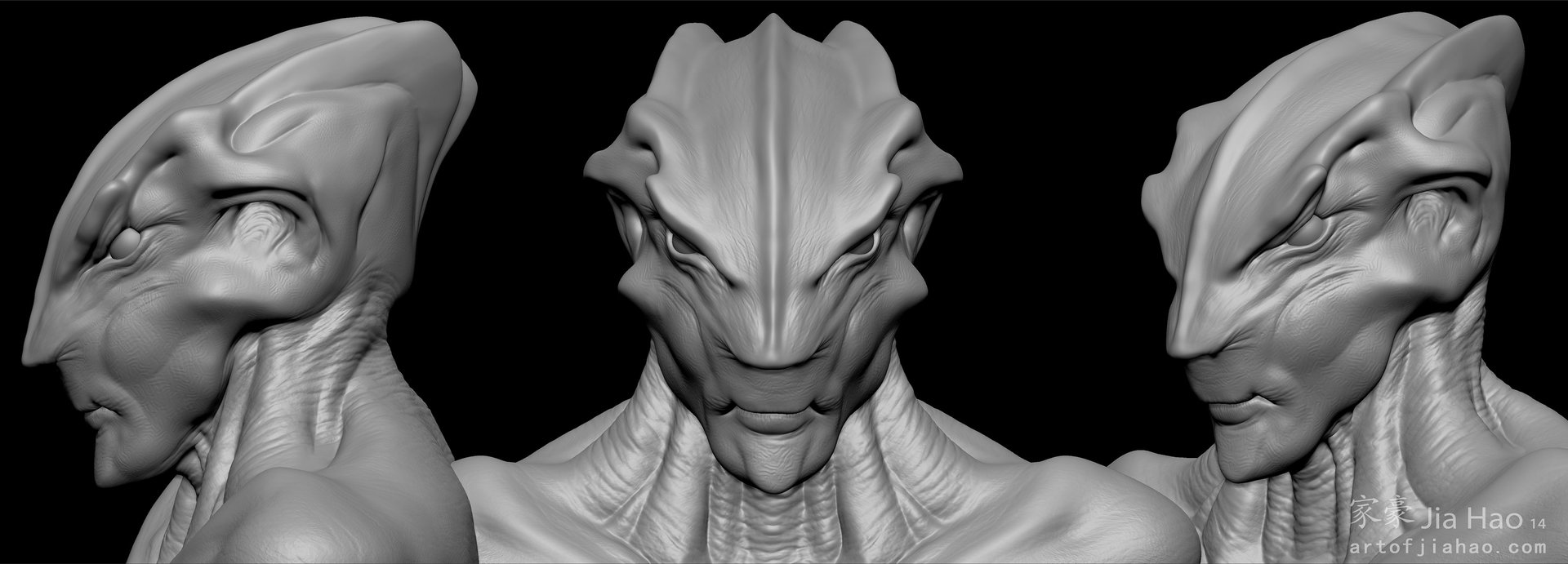 Jia hao 2014 01 alien bust 2 views sculpt