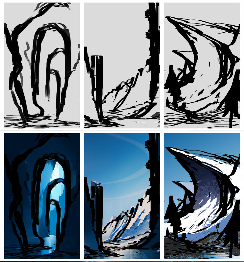 The original rough sketches I used for each thumbnail.